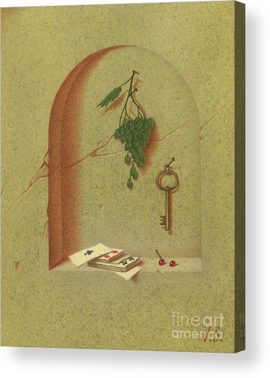 Still-life Acrylic Print featuring the painting Still Life With Cards And Grapes by Victor Sap