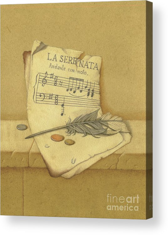 Still Life Acrylic Print featuring the painting Still Life With Sheet Music by Victor Sap
