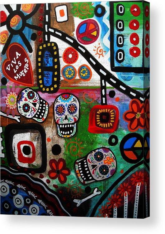 Modern Acrylic Print featuring the painting Viva Tres Muertos by Pristine Cartera Turkus