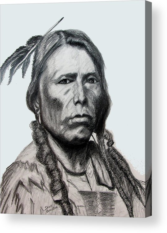 Indian Portrait Acrylic Print featuring the drawing Crazy Horse by Stan Hamilton