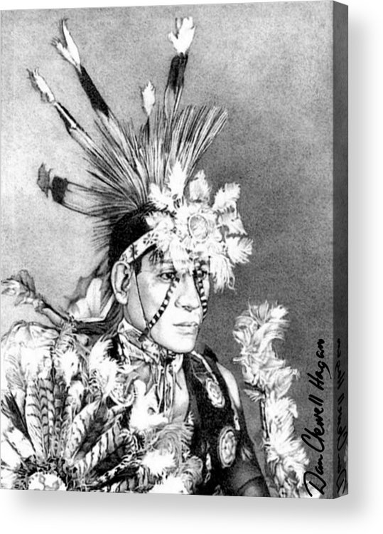 American Indian Acrylic Print featuring the drawing Kiowa Indian by Dan Clewell
