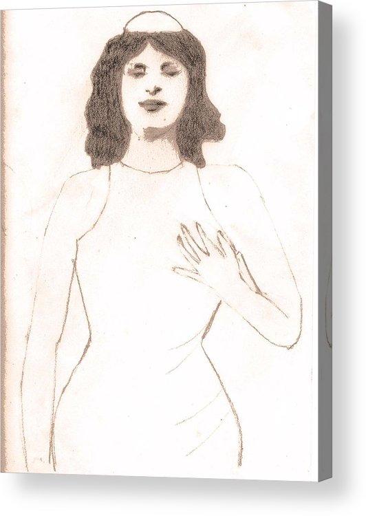 Woman Acrylic Print featuring the drawing Mata Hari Mystique by Jennifer Ott