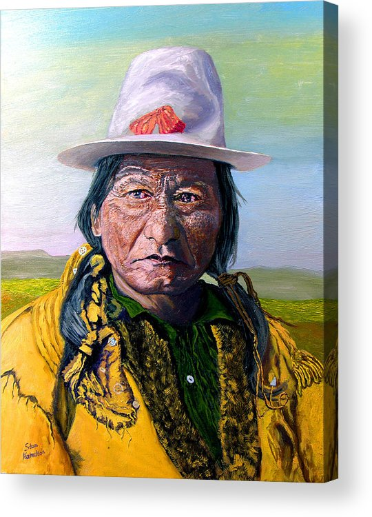 Original Oil On Canvas Acrylic Print featuring the painting Sitting Bull by Stan Hamilton