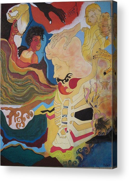 Surreal Acrylic Print featuring the painting The Psyche Of Chaos by Rafel Athens