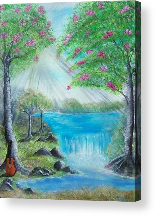 Guitar Acrylic Print featuring the painting Waterfall by Tony Rodriguez