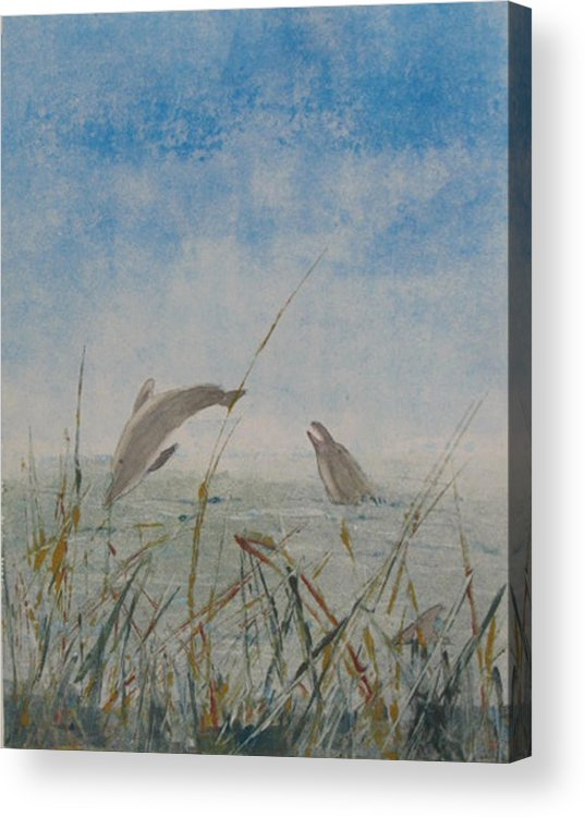Dolphin Acrylic Print featuring the painting Dolphin Frolic by Libby Cagle