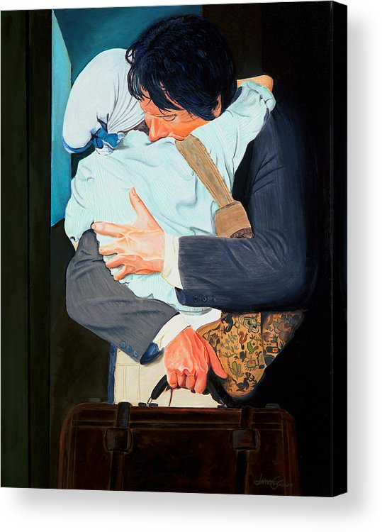 Man Acrylic Print featuring the painting Goodbye At The Station by JoeRay Kelley