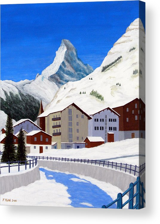 Art Acrylic Print featuring the painting Matterhorn-zermatt by Frederic Kohli