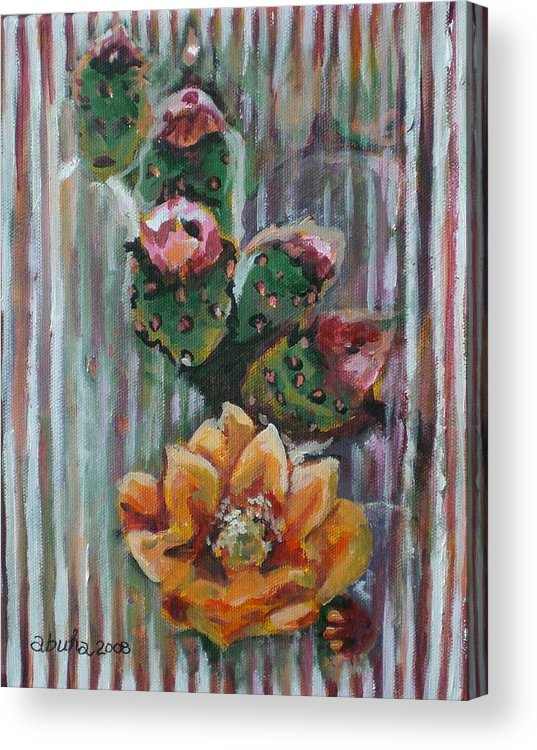 Cactus Acrylic Print featuring the painting Yellow Cactus Blossom by Aleksandra Buha