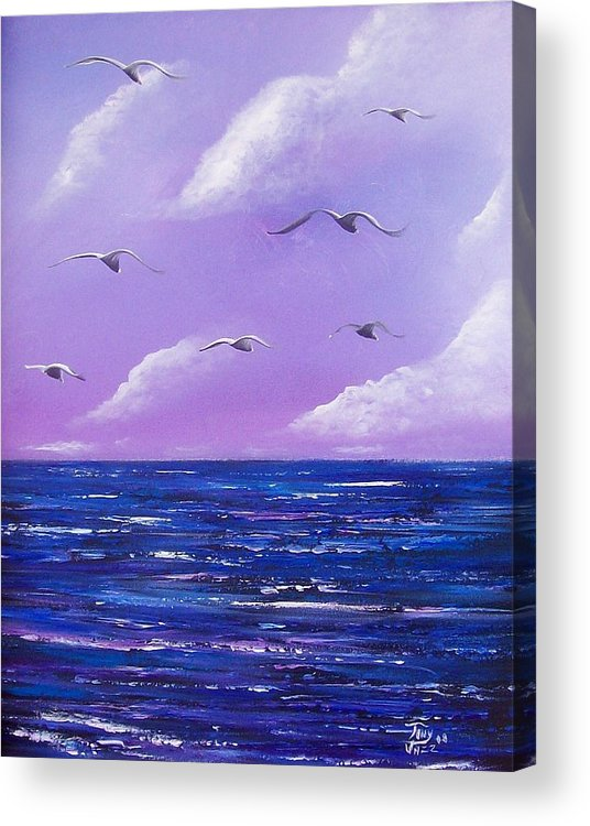 Seascape Acrylic Print featuring the painting 7 Seabirds by Tony Rodriguez