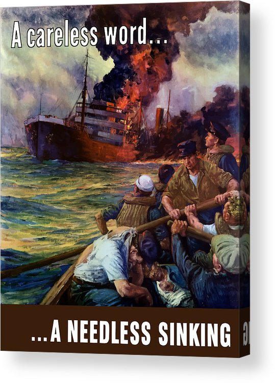 Navy Acrylic Print featuring the painting A Careless Word A Needless Sinking by War Is Hell Store