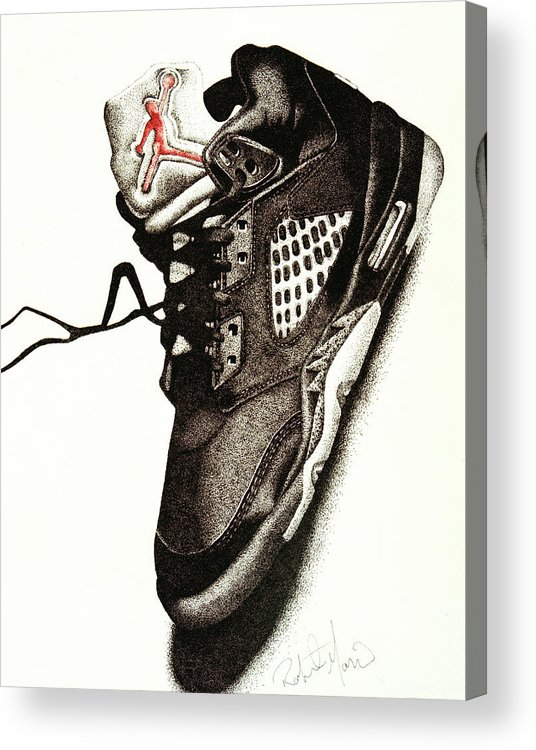 Shoes Acrylic Print featuring the drawing Air Jordan by Robert Morin