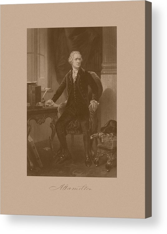 Alexander Hamilton Acrylic Print featuring the mixed media Alexander Hamilton Sitting At His Desk by War Is Hell Store