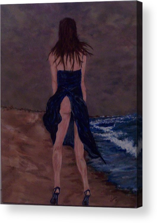Sexy Acrylic Print featuring the painting Alone By The Sea by Francis Bourque
