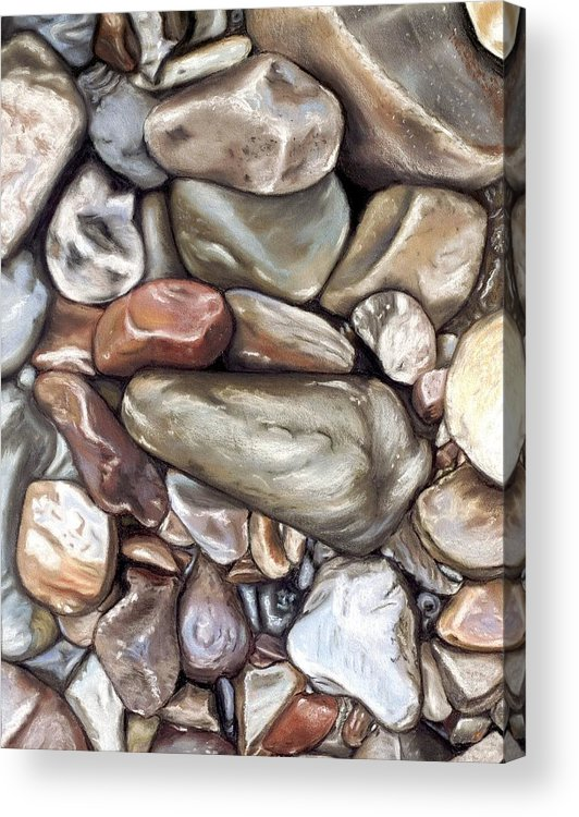Rocks Acrylic Print featuring the painting American River Rocks by Brenda Williams