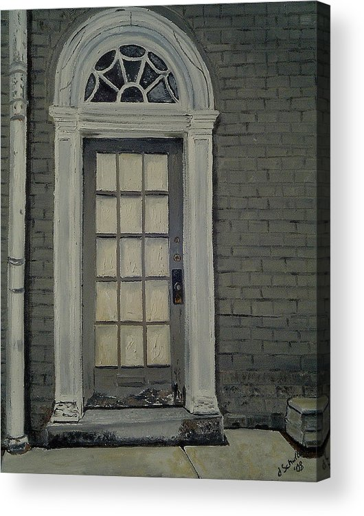 Federal Hill Acrylic Print featuring the painting Arched Doorway Federal Hill by John Schuller