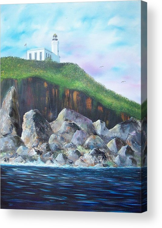 Arecibo Lighthouse Acrylic Print featuring the painting Arecibo Lighthouse by Tony Rodriguez