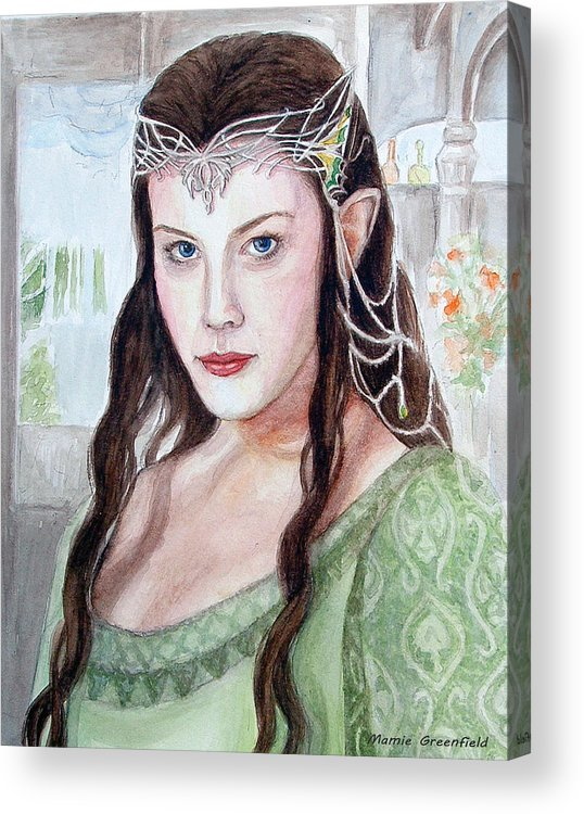 Portraits Acrylic Print featuring the painting Arwen by Mamie Greenfield