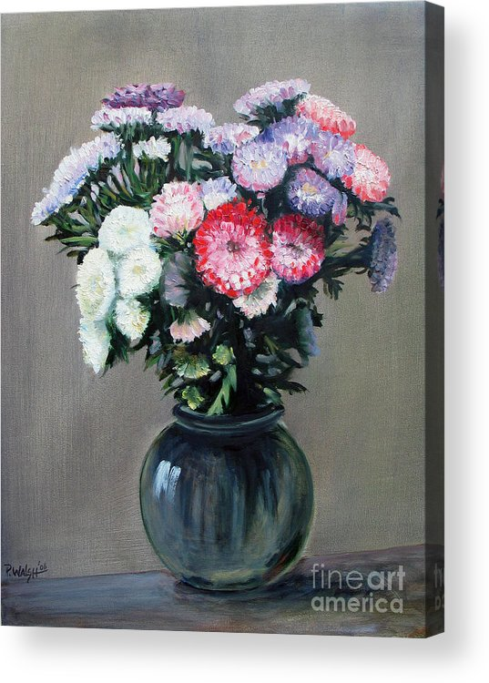 Flowers Acrylic Print featuring the painting Asters by Paul Walsh