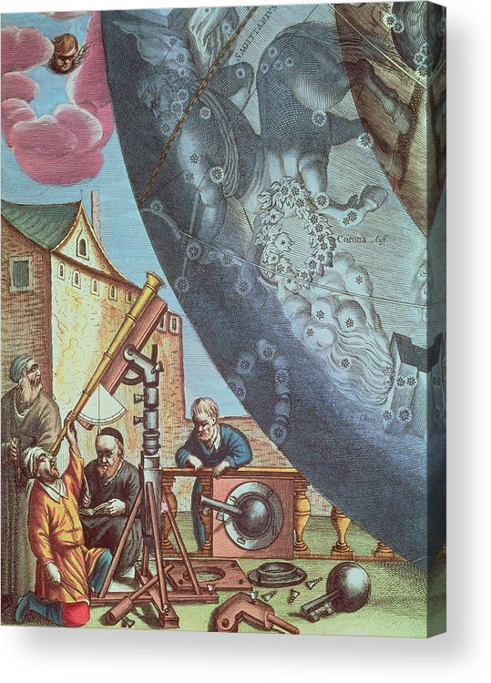 Astronomers Acrylic Print featuring the painting Astronomers Looking Through A Telescope by Andreas Cellarius