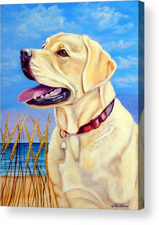Labrador Retriever Acrylic Print featuring the painting At The Beach - Labrador Retriever by Lyn Cook