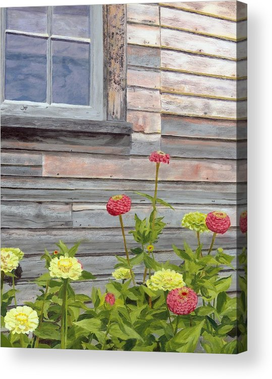 Weathered Wood Acrylic Print featuring the painting At The Shelburne by Lynne Reichhart