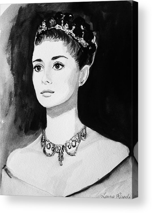 Audrey Hepburn Acrylic Print featuring the painting Audrey by Laura Rispoli