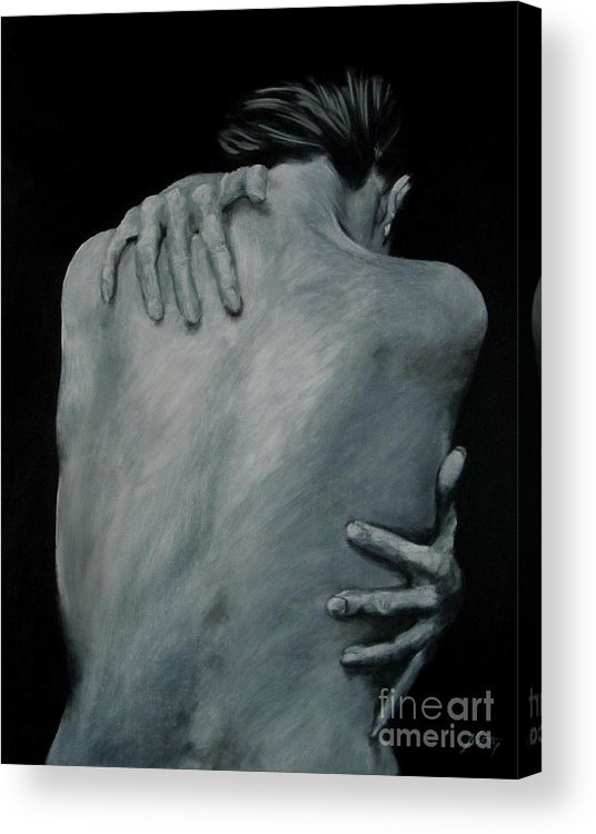 Nude Acrylic Print featuring the painting Back Of Naked Woman by Jindra Noewi