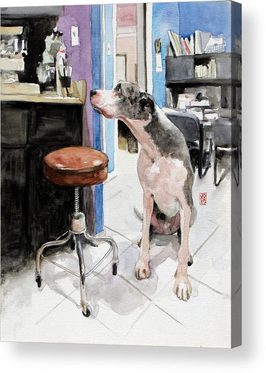 Veterinarian Acrylic Print featuring the painting Back Office by Debra Jones