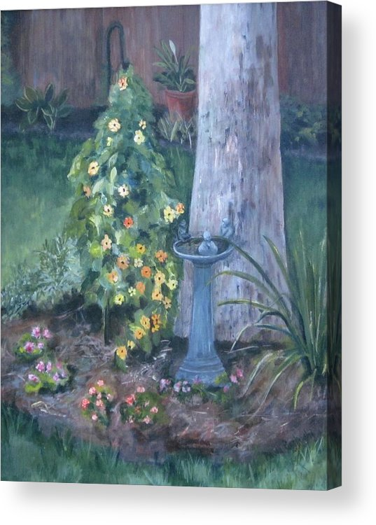 Everything In Bloom In Summertime Acrylic Print featuring the painting Backyard by Paula Pagliughi