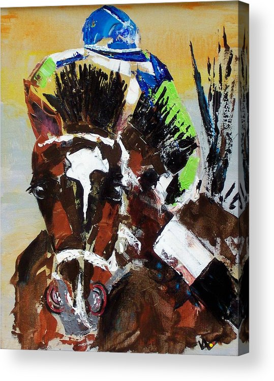 Barbaro Acrylic Print featuring the painting Barbaro Runs by Valerie Wolf