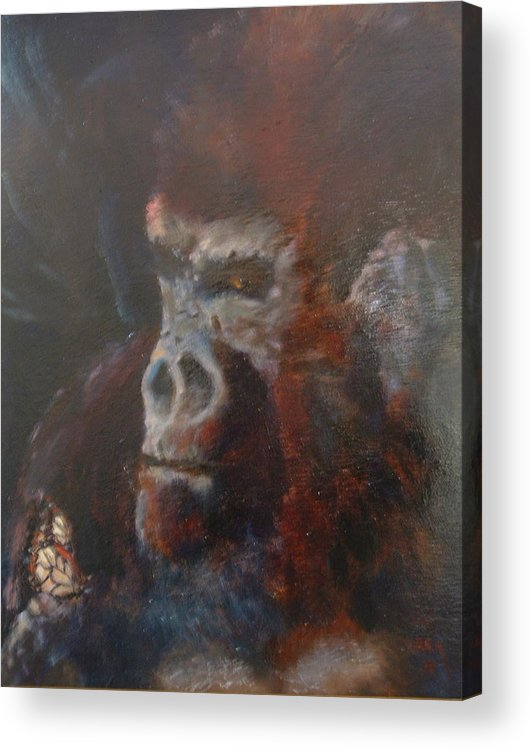 Primates Acrylic Print featuring the painting Beauty And The Beast by Bryan Alexander