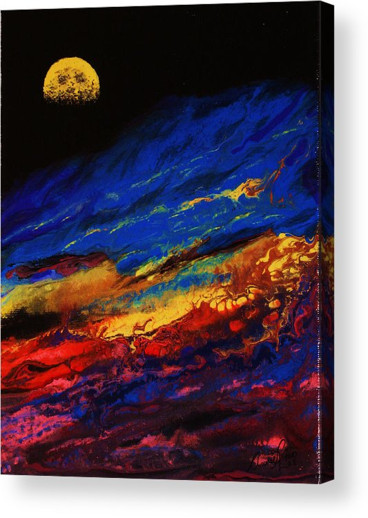 Contemporary Lanscape Acrylic Print featuring the painting Belle Nuit by Annie Rioux