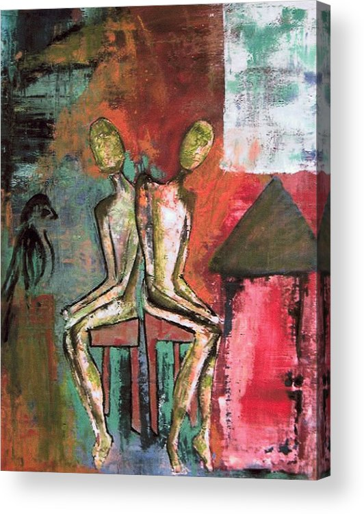Figure Acrylic Print featuring the painting Beside Myself by Terrie Yeatts