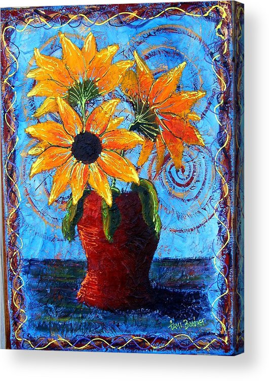Acrylic Print featuring the painting Blazing Sunflowers by Tami Booher