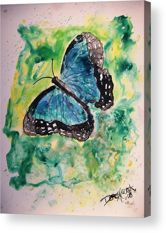 Wildlife Acrylic Print featuring the painting Blue Butterfly by Derek Mccrea
