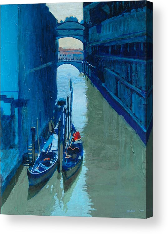 Italy Acrylic Print featuring the painting Blue Gondolas by Robert Bissett