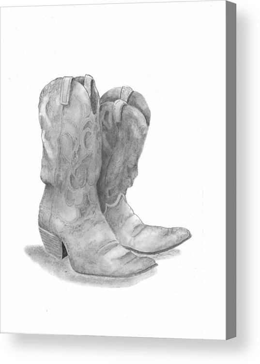 Boots Acrylic Print featuring the drawing Boots by Barney Hedrick