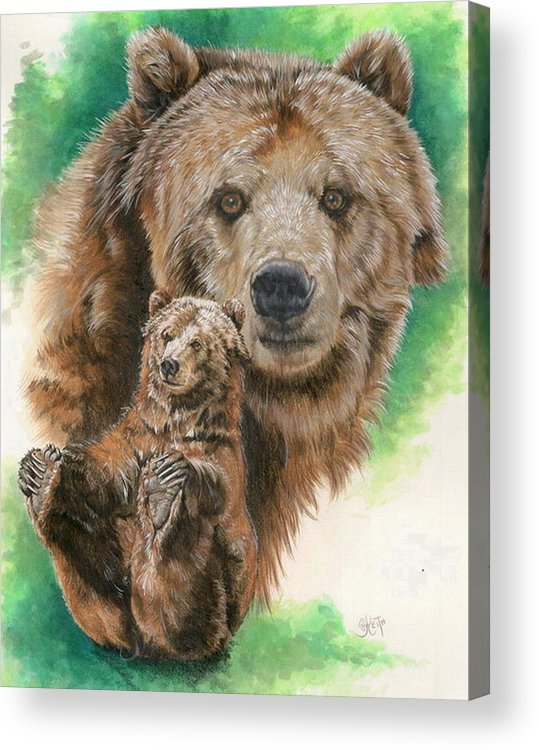 Bear Acrylic Print featuring the mixed media Brawny by Barbara Keith