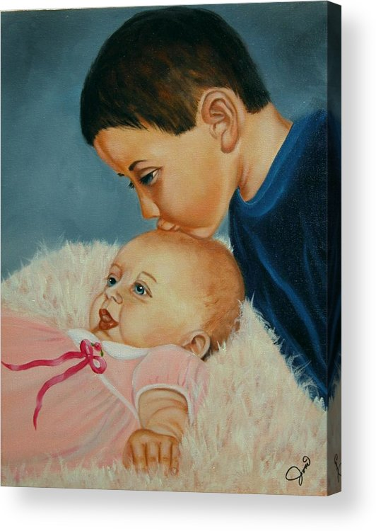 Children Acrylic Print featuring the painting Brother And Sister by Joni McPherson