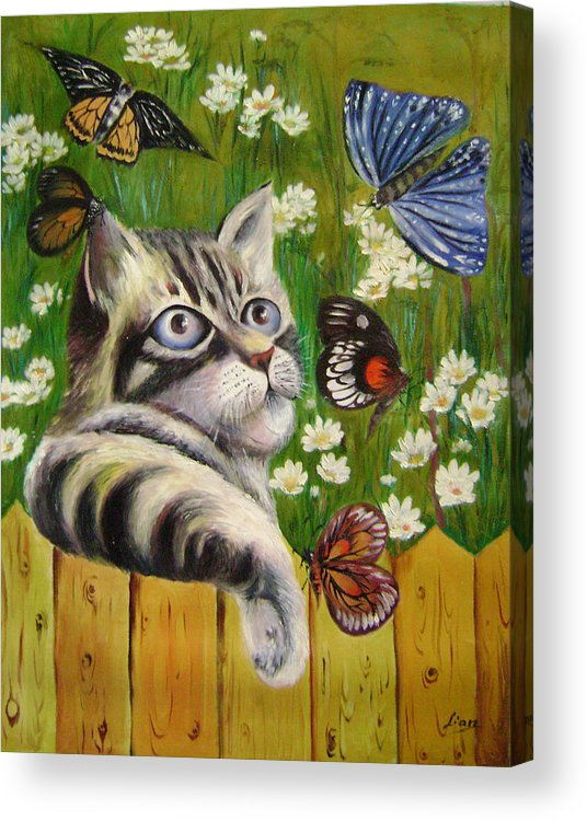 Fantasy Acrylic Print featuring the painting Butterfly Dream by Lian Zhen