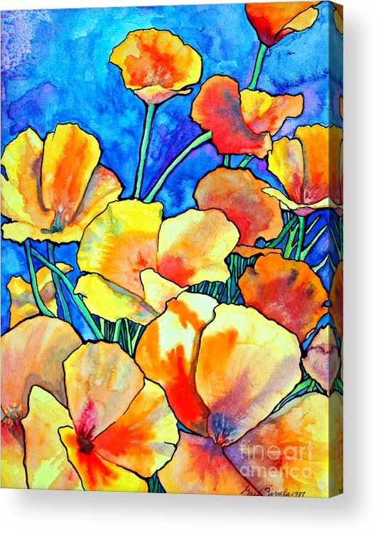 Floral Acrylic Print featuring the painting California Poppies by Gail Zavala