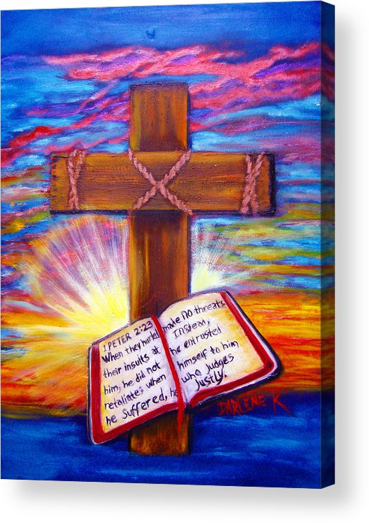 Cross Acrylic Print featuring the painting Chads Cross by Darlene Green