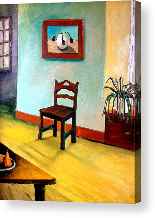 Apartment Acrylic Print featuring the painting Chair And Pears Interior by Michelle Calkins