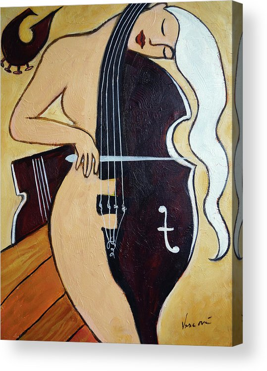 Cello Acrylic Print featuring the painting Chocolate Covered Cherry by Valerie Vescovi