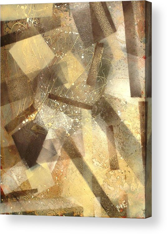 Abstract Acrylic Print featuring the painting Construction In Brown by Evguenia Men