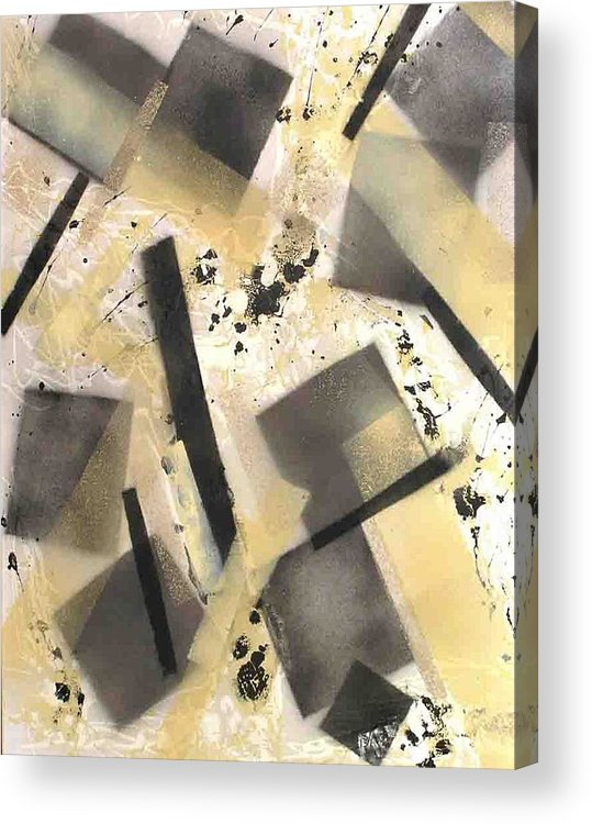 Abstract Acrylic Print featuring the painting Construction In Cream by Evguenia Men