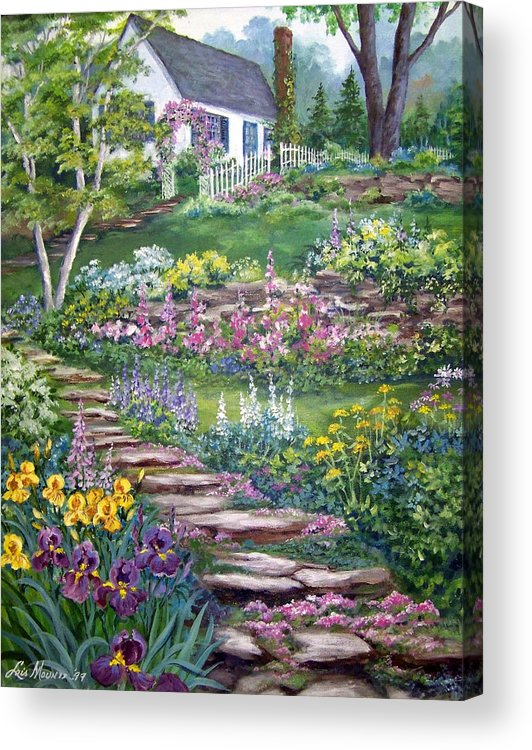 Landscape;cottage;white House;picket Fence;birch Tree;gardens;iris;stone Walk;rock Path;archway; Acrylic Print featuring the painting Cottage On The Hilltop by Lois Mountz