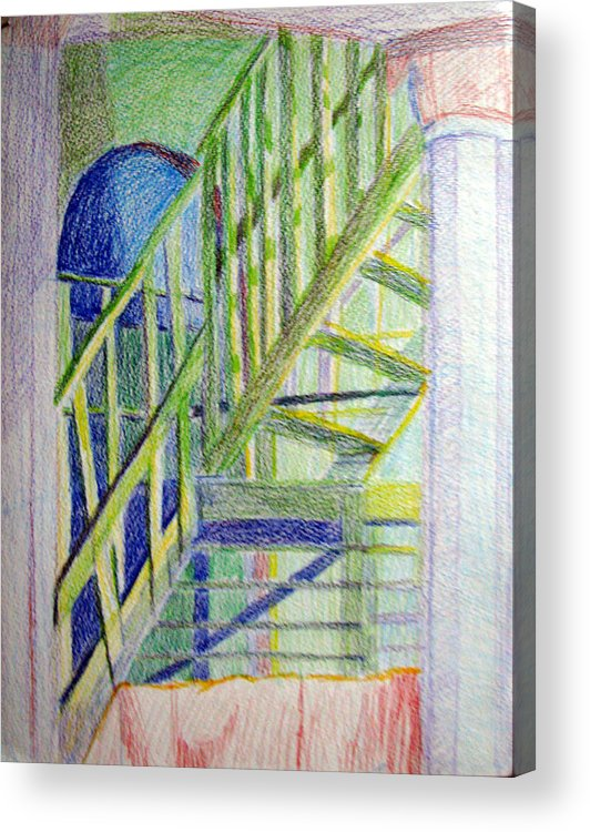 Steps Acrylic Print featuring the drawing Crazy Steps by Art Nomad Sandra Hansen