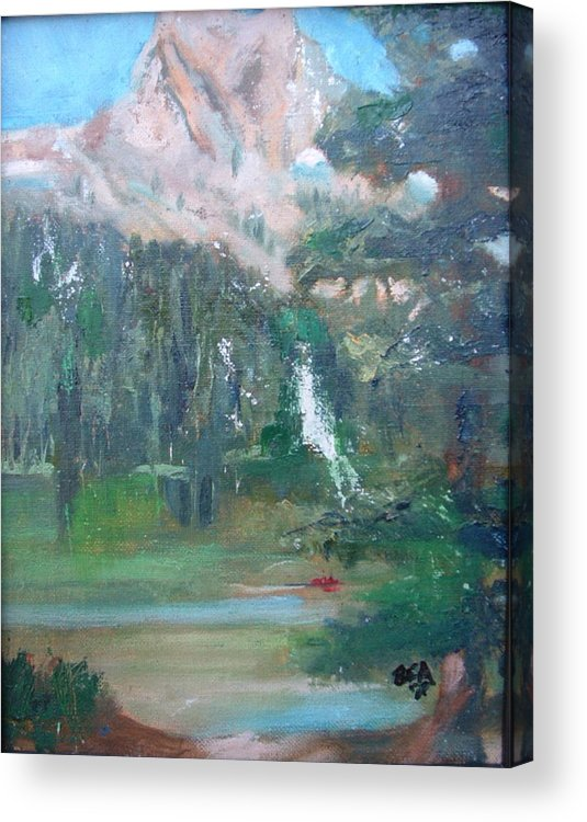 Lake Landscape Mountains Acrylic Print featuring the painting Crystal Craig At Pine Lake by Bryan Alexander